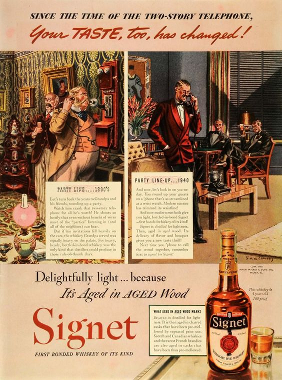 1940 Ad Hiram Walker & Sons Inc Signet Rye Whiskey Alcohol Businessmen Gathering -