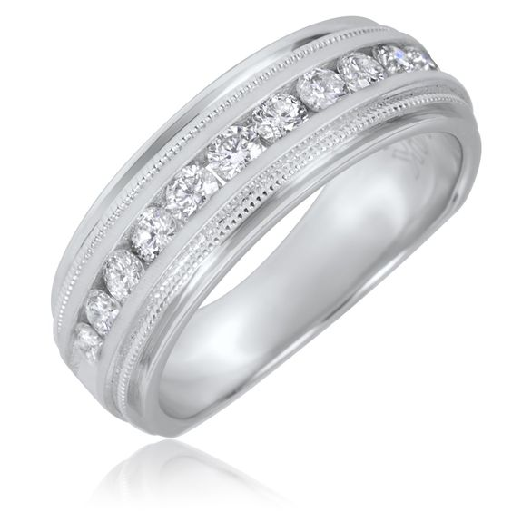 TW Round Cut Diamond Mens Wedding Band 10K White Gold