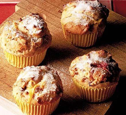 Rhubarb & custard muffins recipe - Recipes - BBC Good Food