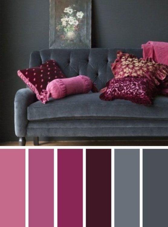 Dark Grey Pink Living Room Color Scheme Ideas Living Room Color