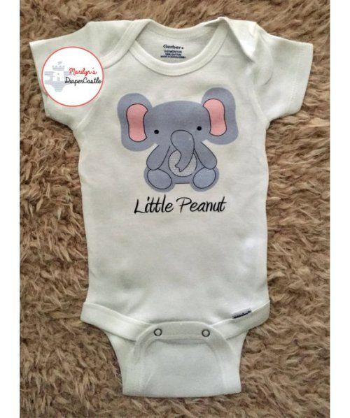 Little Peanut 1 Baby Bib Funnny Cute Elephant Animals New Born Gift