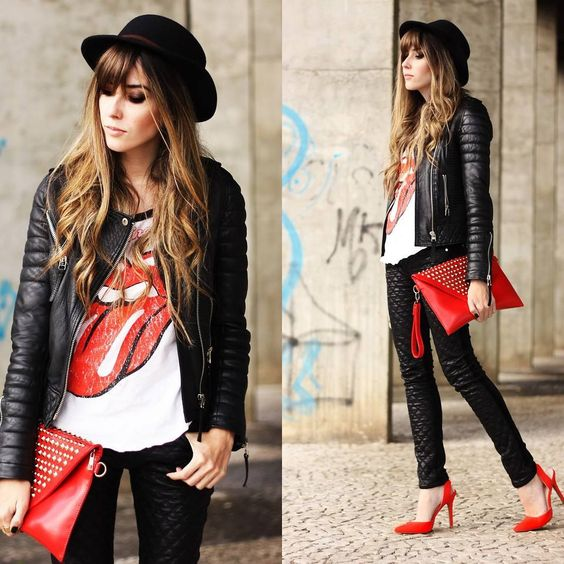 Adorable Rock 39 N 39 Roll Outfit With A Rolling Stones Shirt Leather Jacket And Jeans You