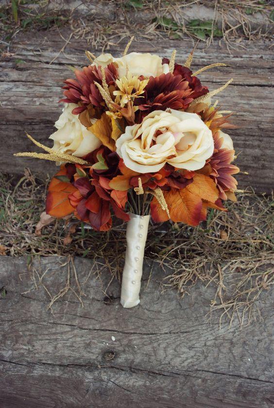 Fall Wedding Bouquets Fake : Fall silk floral bridal bouquet bridemaids groomsmen
