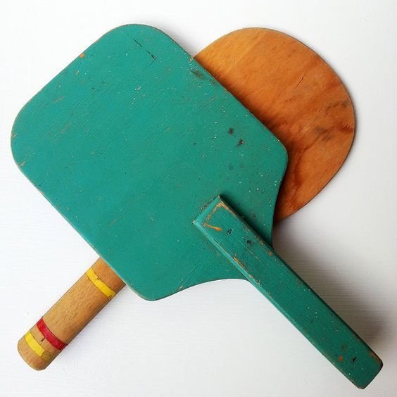 Vintage Timber Ping Pong Game Paddles
