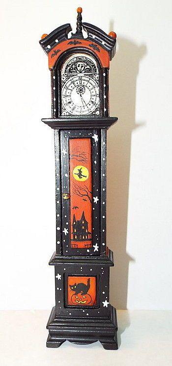 Dollhouse miniature Halloween clock skeleton witches cat JOL Gothic OOAK  1:12
