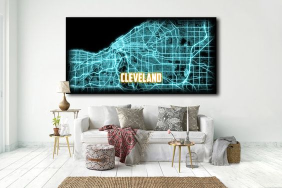 CLEVELAND OH Large Map Canvas Art Cleveland Ohio by NightLightMaps
