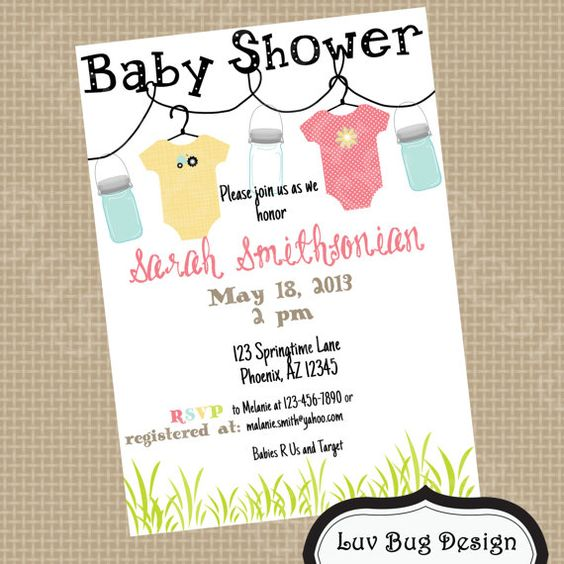 PRINTABLE Mason Jar Baby Shower or Bridal Shower by luvbugdesign, $14.00