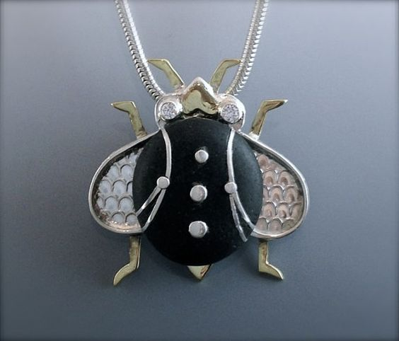 River Rock Bug Necklace Pendant with Inlayed Silver