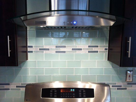 glass subway tile backsplash with glass mosaic inlay yelp kitchens pinterest glass subway tile backsplash