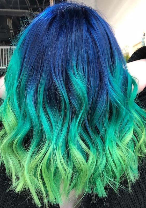 25 Gorgeous Green Hair Colors With Blue Roots In 2018 Hair Color
