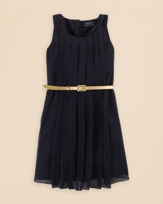 Ralph Lauren Girls' Pleated Dress - Sizes 7-16 | Bloomingdale's