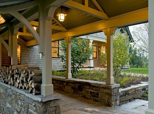 Pool houses shelters and walkways on pinterest for Carport landscaping ideas
