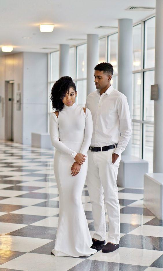Houseofcb arossa all white wedding dress city hall for How to dress for a courthouse wedding