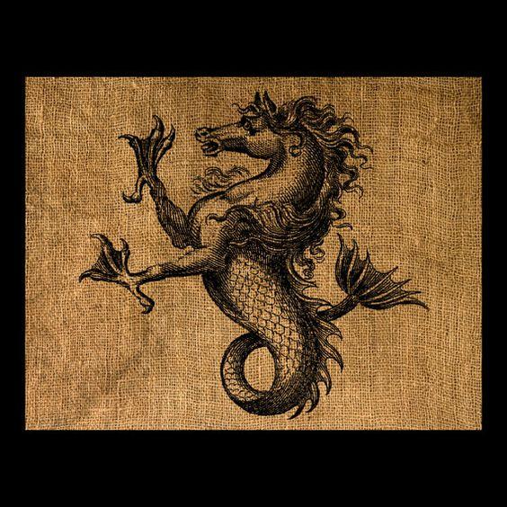 Antique Heraldic Seahorse or Hippocampus