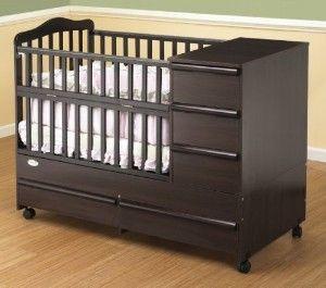 "Portable Convertible Crib 'N Bed with Storage Station Unit - Espresso (Espresso) (54.25""D X 43.5""H x 26.25""W)"