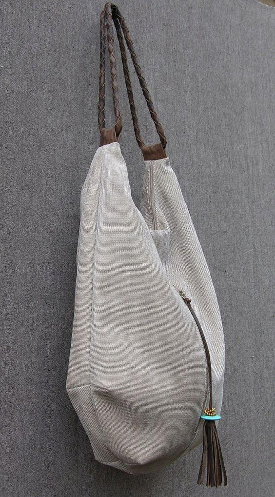lona y cuero Tote Extra grande bolso bolso del Hobo por RuthKraus