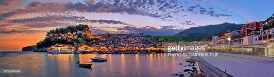 Parga's traditional town,castle & little port at twilight