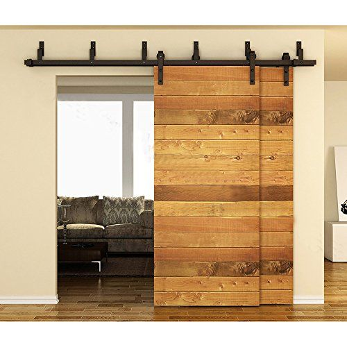 Winsoon 10ft black bypass rustic sliding roller barn for Dual track barn door hardware