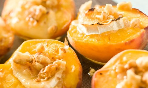 Baked peaches with Brie are DELICIOUS. I use honey instead of maple syrup, and sometimes I sub pecans for walnuts. Many thanks to @jobeth (bootsmc) for sharing this recipe.
