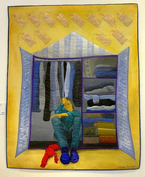"""Wardrobe Dilemma"" by Linda Barlow. Exhibit: 'Searching for the Invisible Woman' at The Festival of Quilts 2015. Posted at the Bernina blog."