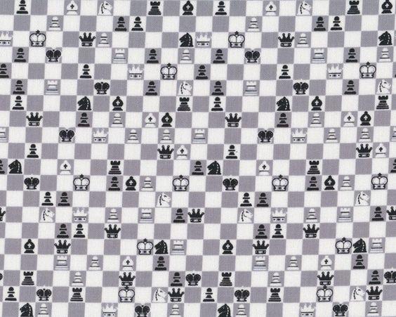 Patchworkstoff FUN GAMES MINI, Schach, grau-schwarz-weiß
