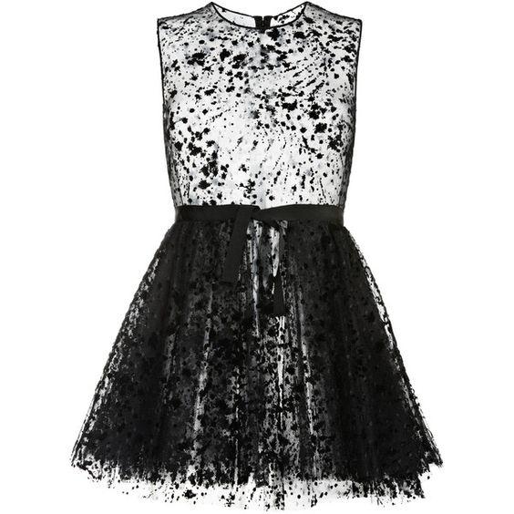 Giambattista Valli Polka Dot Tulle Mini Dress ($3,630) ❤ liked on Polyvore featuring dresses, short tulle dress, mini dress, transparent dress, short sheer dress and short dresses
