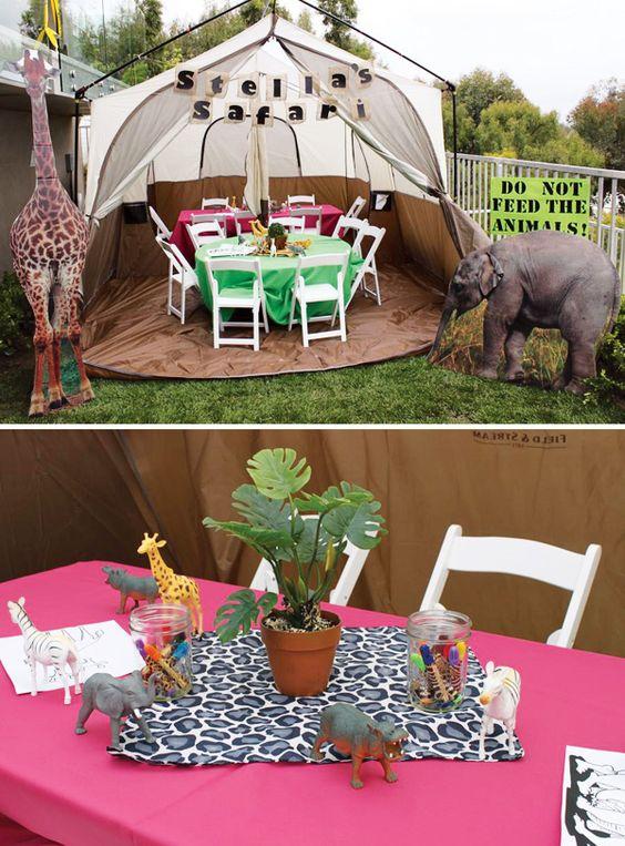 Cute girly safari birthday party jungle animals birthdays and tent - Deco table jungle ...