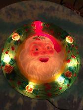 Rare Vintage Hard Plastic Blow Mold 27 Quot Santa Face Wreath