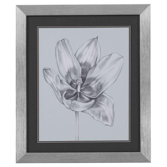 Bassett Mirror Silver Blue Tulips II 9900-183BEC