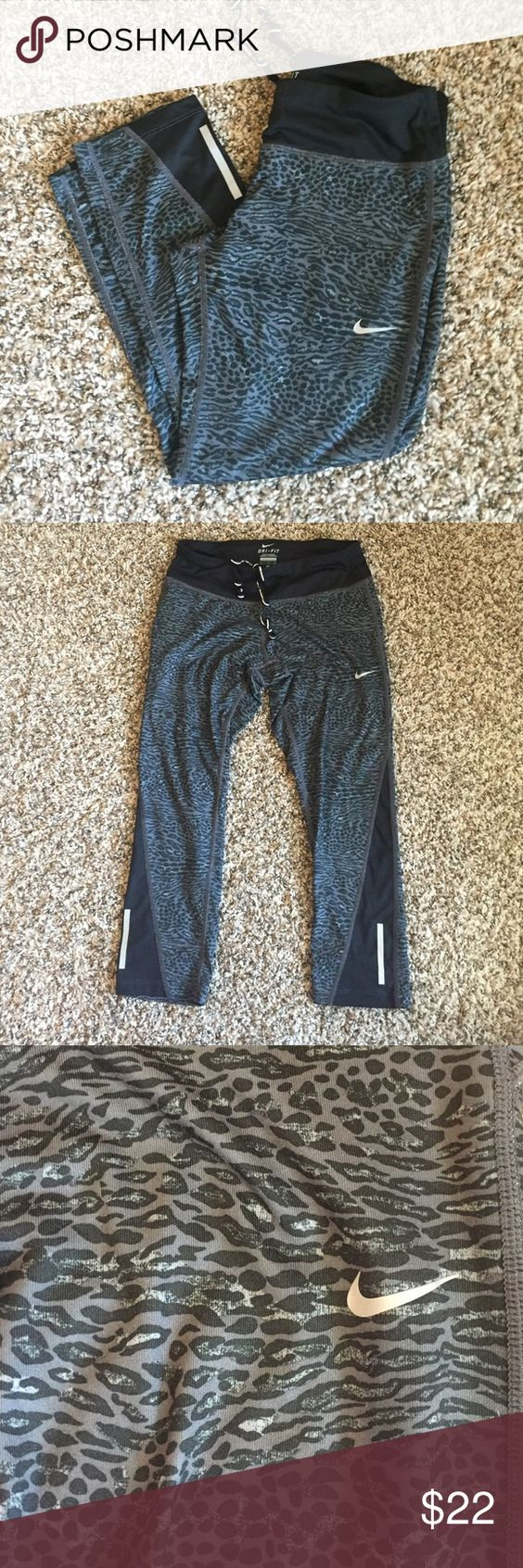Nike Leopard Leggings These Nike Dri-Fit leggings have a leopard pattern and go to mid calf. They are stretchy, perfect for working out and super cozy. They have only been worn a couple of times and are in like new condition. They come from a smoke free home. ✨ NO TRADES ✨ Nike Pants Leggings
