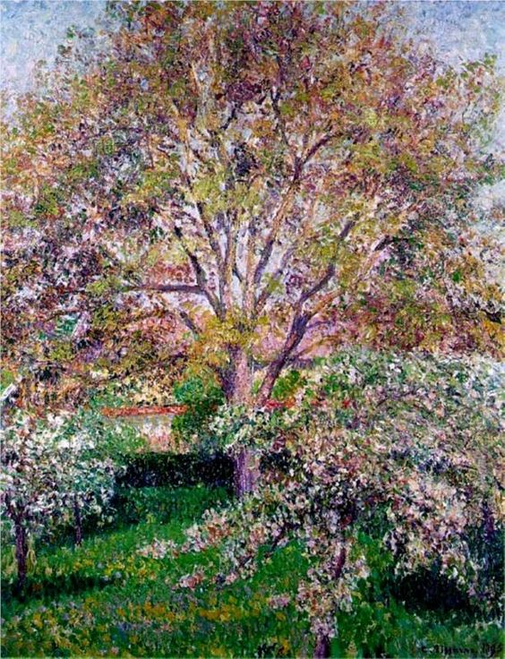 Wallnut and Apple Trees in Bloom at Eragny  Camille Pissarro - Style: Pointillism