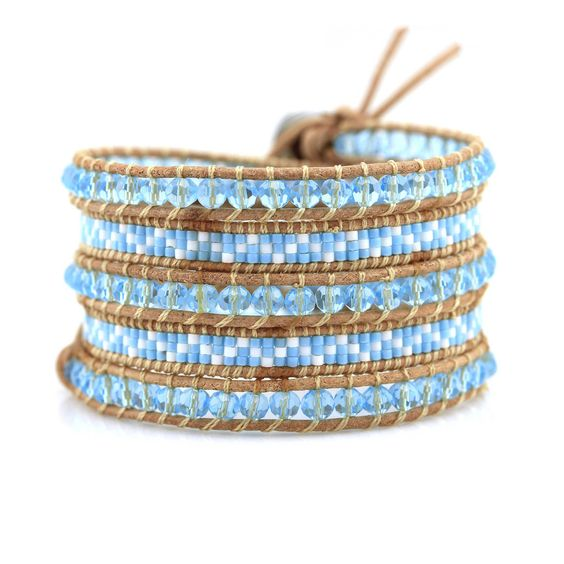 Victoria Emerson Turquoise crystals and miyuki seed beads on natural $32.00  $199. 36 Reviews