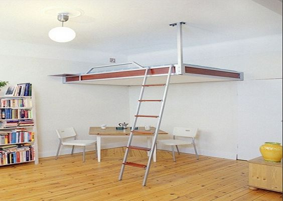 Bedroom Furnitures Simple Diy Loft Bed With Wall Mounted