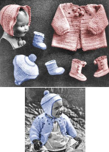 Boy & Girl Baby Outfits Vintage Crochet Pattern for download 6 mos-1 yr