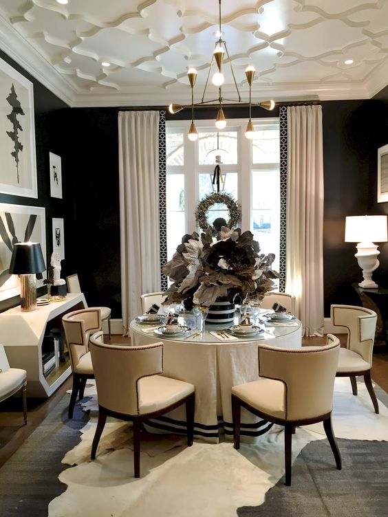 Table Skirt With Black Trim Is What I Want For My Dining Room Delectable Small Dining Room Interior Design Design Inspiration
