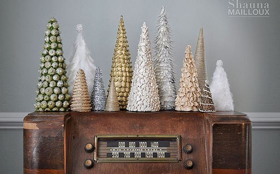LOTS of DIY tree ideas here from cereal box cones