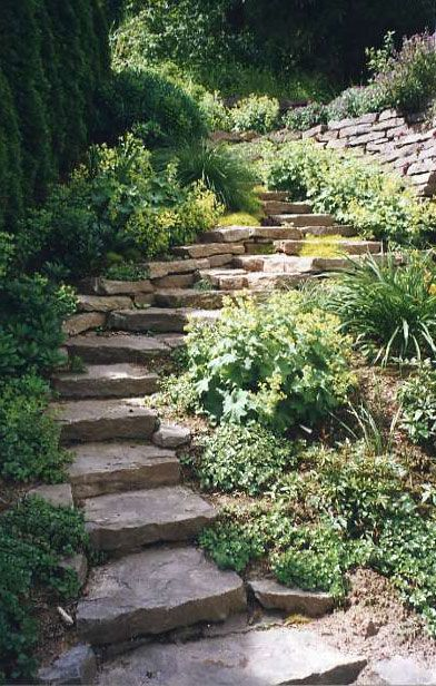 Beautiful garden stairs with rocks...'