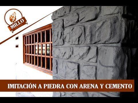 Como Hacer Imitacion A Piedra Con Arena Y Cemento Youtube Paredes De Cemento Cemento Macetas De Cemento