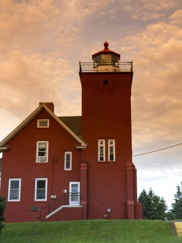Two Harbors Lighthouse Overlooking Agate Bay, Lake Superior, Two Harbors, Minnesota, USA: