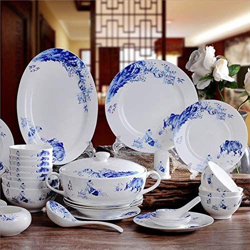 Ylee Ceramic Tableware Set Jingdezhen Tableware Chinese Blue And White Porcelain Tableware Home Chinese Pla Ceramic Tableware Tableware Set Porcelain Tableware
