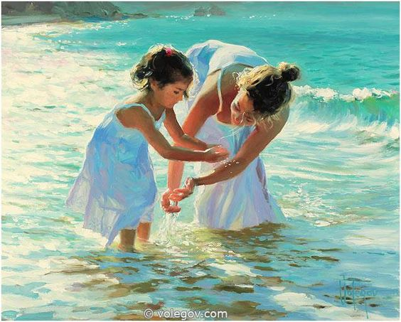 Vladimir Volegov 44. In Water (2011) *SOLD* { this one is identical to 54. 'Playing in Water', just a closer image } http://www.volegov.com/in-water-painting/