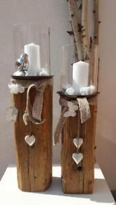 Windlicht Holz Laterne Kerze Holzbalken Glas Natur Holz Design