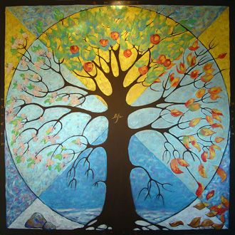 Tree of Life Depicting Seasons - Original art by Trisha Selgrath