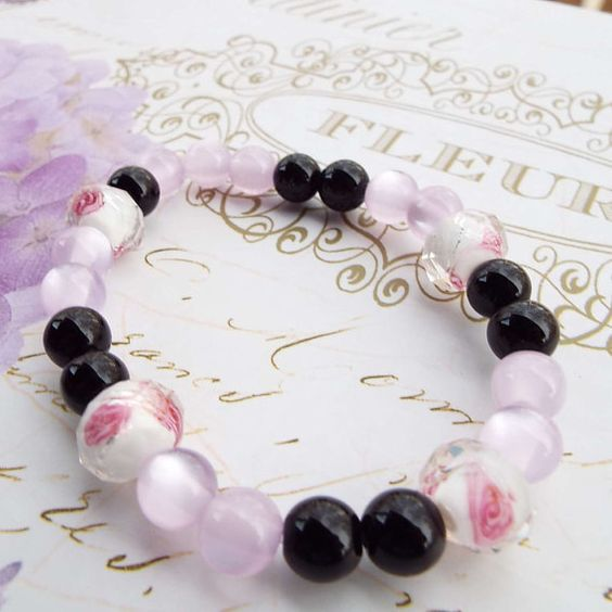 Rose Pink Black Bracelet Thank you Bridesmaid by Willows3Creations