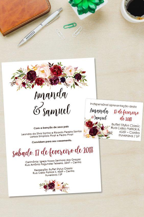 Convite Marsala 0001 Convite De Casamento Editavel Convite De