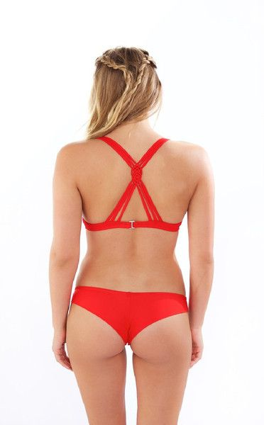Red Frankies Bikinis Marina Macrame Top!  The Marina Top has a sporty look to it, and has been made with athletic girls in mind. A braided bikini top such as this one will stay in place while you enjoy a day at the beach. The sporty triangle top is accentuated with small cutouts and three braided strings which add a touch of luxury to this solid red bikini top. #frankiesbikini #redbikini