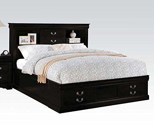 Acme Acme Louis Phillipe Iii King Bed W Storage In Black 24387ek Queen Size Storage Bed Storage Bed Queen Acme Furniture