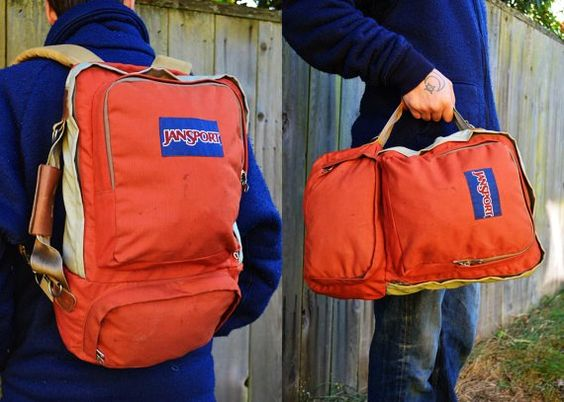 Vintage Jansport USA Two Tone Travel Duffle Daypack ...