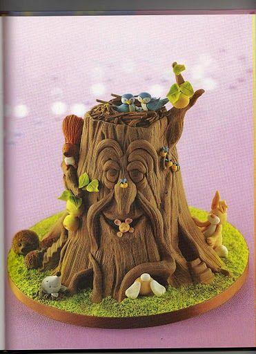 een boomstam van cake
