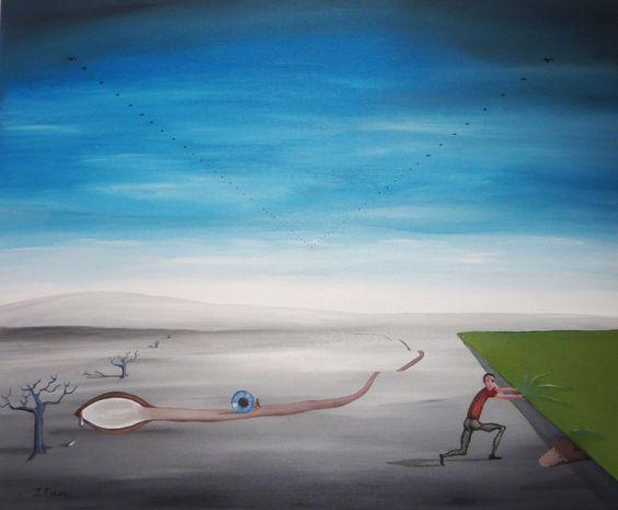 ROBO Y BÚSQUEDA DEL IRIS ANTE EL OBSERVADOR PATO.   Acrílico y Óleo sobre lienzo  73 x 60 cm.  Año 2011